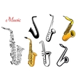 Cartoon saxophone music instruments vector image vector image