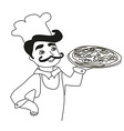 chef with pizza - doodle vector image vector image