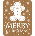 chistmas greeting with cookie on wood background vector image vector image