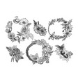 collection of beautiful flower accessories vector image vector image