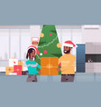 couple holding gift present box merry christmas vector image vector image