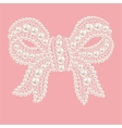 Cute bow with pearls and diamonds vector image