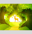 deer in magic forest standing in front rising vector image vector image