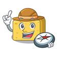 explorer gouda cheese pieces cartoon vector image vector image