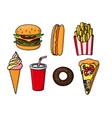 Fast food snacks drink and desserts vector image