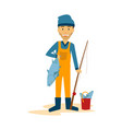 fisherman standing with his fish vector image vector image