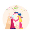 happy loving couple kissing and holding hands vector image