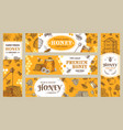 honey banner healthy sweets natural bees honey vector image vector image