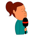 journalist with microphone on white background vector image