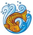 koi fish in sea waves vector image