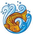 Koi fish in the sea waves