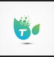 leaf design with t letter symbol design minimalist vector image vector image