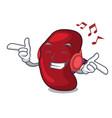 listening music spleen mascot cartoon style vector image vector image