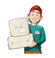 man with package delivery vector image vector image