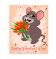 mouse with red tulips vector image