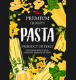 pasta and greenery with olive oil pastry poster vector image vector image