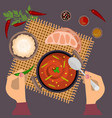 person is eating pungent curry vector image
