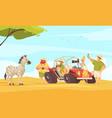 safari travel flat composition vector image