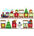 set of christmas number on train vector image vector image