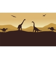 Silhouette of many dinosaur in hills vector image vector image