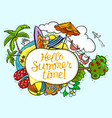 summer speech bubble with hello summer time vector image