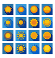 Sun Flat Icons In Isolated Blue Squares vector image