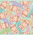 tropical pattern with cute sloth vector image vector image