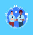 two mix race business men handshake over blue chat vector image