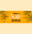 yellow halloween sale banner with spider web vector image vector image