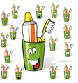 toothbrush and toothpaste in a cup - cartoon with vector image