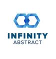 two hexagonal chain links logo beautiful infinity vector image