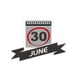 30 june calendar with ribbon