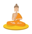 a monk meditating in lotus position icon vector image