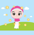 a moslem girl like shopping with shopping bags vector image