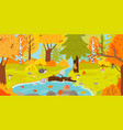 autumn forest autumnal nature landscape yellow vector image