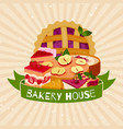 bakery house banner homemade berries pies dessert vector image vector image