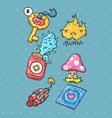cartoon sticker set in 80s 90s comic trendy styl vector image