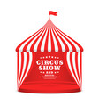 circus tent with striped roof and curtains vector image vector image