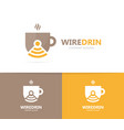 coffee and wifi logo combination drink vector image vector image