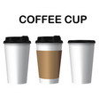 coffee cup three cup of coffee white background ve vector image vector image