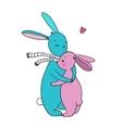cute rabbits a basket carrots and a bird vector image