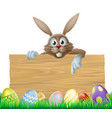 easter bunny sign vector image vector image