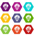 facial spa treatment icons set 9 vector image