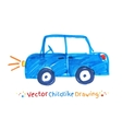 Felt pen childlike drawing of vehicle vector image vector image