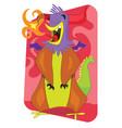 flaming alien monster rooster cartoon vector image