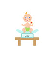 flat baby infant with nipple and diaper vector image vector image