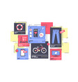 flat isolated online store with clothes and device vector image