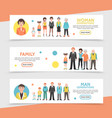 flat people generation horizontal banners vector image vector image