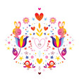 flowers bunnies hearts and birds vector image
