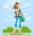girl with her pet vector image vector image